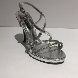 Nina Shoes Silver Metallic Glittery Strappy Heel